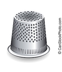 metal thimble, a tailor on white background