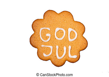 Gingerbread biscuit God Jul, isolated