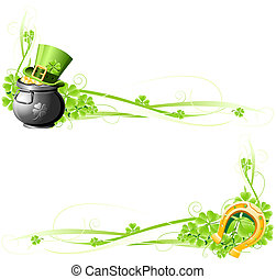 St Patricks Day banners with hat, pot and horseshoe
