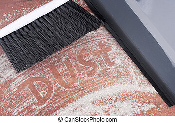 House cleaning, on a floor small sand simulating dust is...