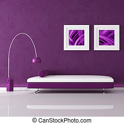 purple interior - purple minimal interior with velvet sofa...