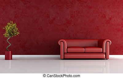 red living room - red leather sofa against stucco wall -...
