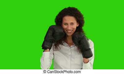 African woman with boxing gloves - Chroma-key footage of an...