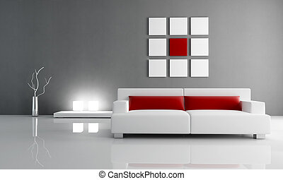 red and gray lounge - minimal contemporary living room -...