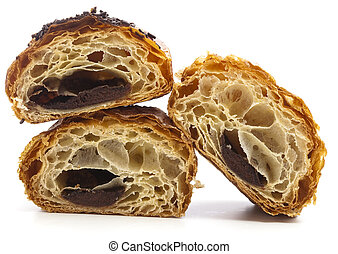 chocolate bun half isolated on a white background