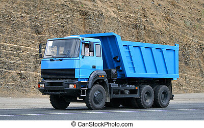 Dump truck - Modern blue dump truck in the opencast mine