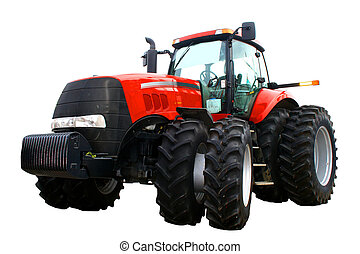 New red tractor - Isolated tractor prepared for sale