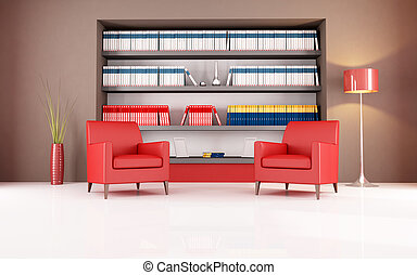 reading room - two red leather armchair against bookshelf -...