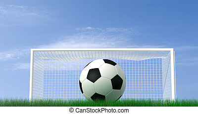 penalty - shot of a soccer ball on a field - high resolution...