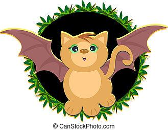 Cat Bat in Leaf Wreath