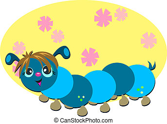 Retro Caterpillar - Here is a cute Caterpillar surrounded by...