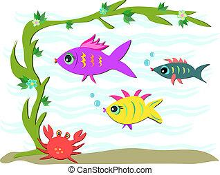 Three Fish and a Crab