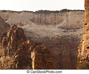 White Red Canyon Walls Zion Canyon National Park Utah -...