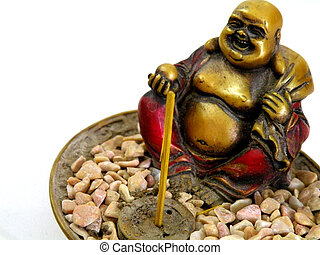 A statuette of the Buddha