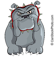 BullDog - Illustration of a angry gray Bulldog with a Spiked...