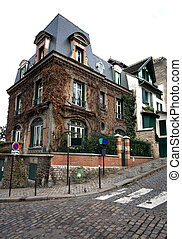 House on a Corner, Paris, France - An old house in the...