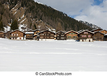 Alpine Chalets - Alpine chalets in a small Swiss village