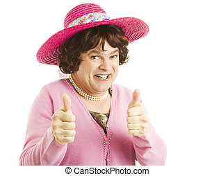 Cross Dresser Two Thumbs Up - Funny image of a man, dressed...