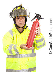 Fireman Demonstrates Fire Extinguisher - Fire fighter...