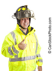 Friendly Fireman - Thumbsup - Friendly fire fighter giving...