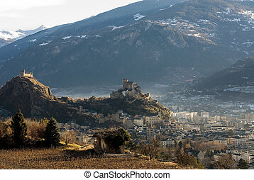 Sion, Switzerland - Sion, the capital of the Swiss canton of...