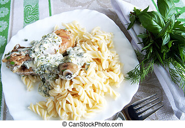 Chicken legs with pasta with herbal cream sauce