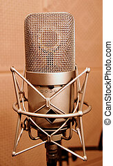 Microphone in a sound enclosure booth, close up