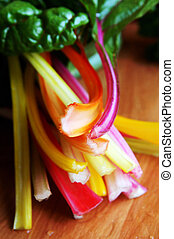 Colorful crops of mangold closeup - Colorful fresh new...