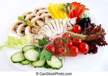Fresh ingredients for healthy chicken salad - A set of fresh...
