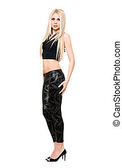 Attractive young blonde in black leggings