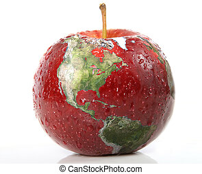 Apple earth - Red apple with earth on it isolated over white