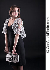 Beauty young woman in lacy jacket and handbag - Beauty woman...