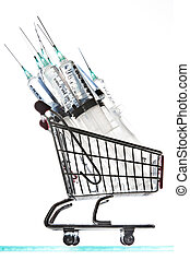 Syringes in a shopping cart