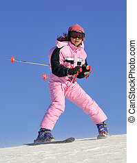 Jung girl skiing on the Bistra mountain
