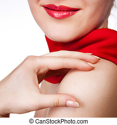attractive woman with red scarf isolated on white