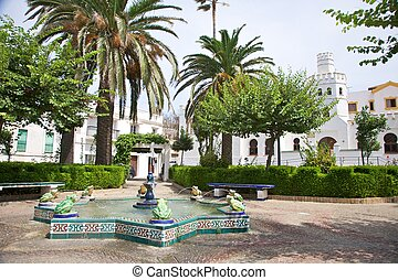 public square at Tarifa village in Andalusia Spain