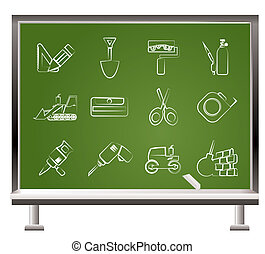 painted with chalk building and construction icons - vector...