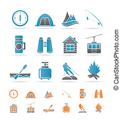 travel, Tourism, vacation and mountain objects - vector...