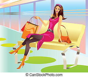 fashion shopping girl with bag