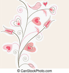 valentine tree background, pink hea