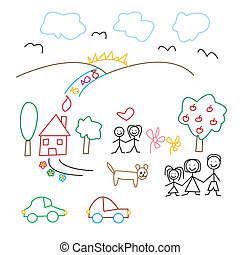 Childrens drawing - seamless pattern