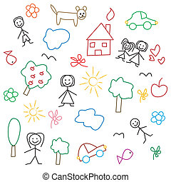 Children's, drawing, -, seamless, patte