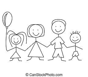 caricatura, cômico, família