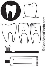 Dental set of teeth brush and paste