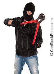Break-In - Masked robber holding huge red and black wire...