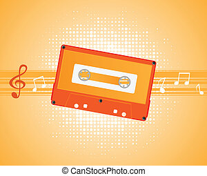 Musical composition with audiocassette vector.