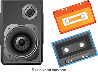 Musical speaker and audiocassette. - Musical speaker and...