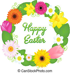 Happy Easter - Wreath From Various Colours And Leaves,...