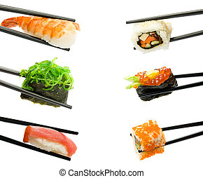Sushi with chopsticks isolated over white background. Set.