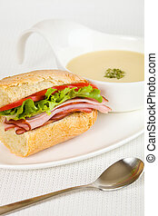 sandwich and soup - Healthy ham sandwich with a vegetable...